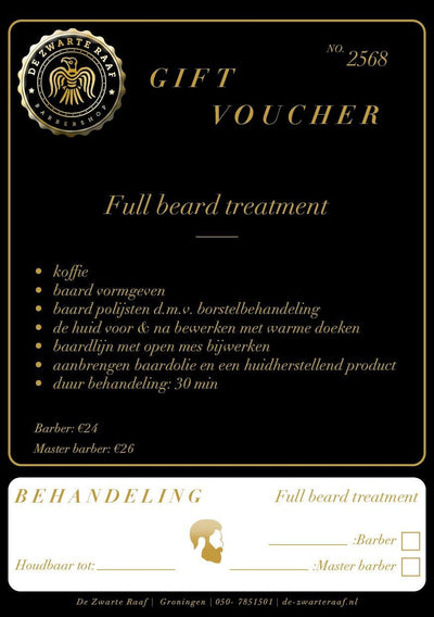 "Gift Voucher ""Full Beard Treatment"" - barberwebshop"