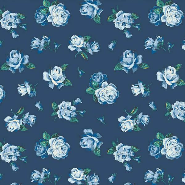 Liberty Cotton - Blue Floral on Navy