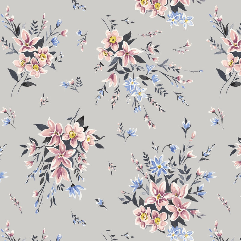 Liberty Cotton - Bouquet on Grey