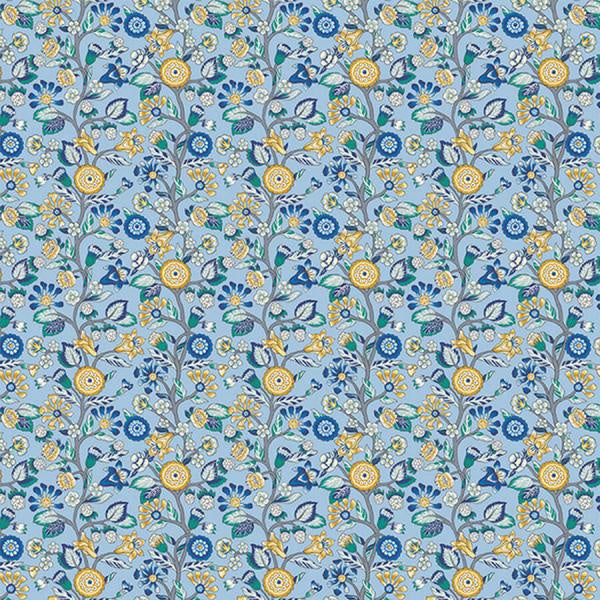 Liberty Cotton - Blue & Mustard Floral Vine