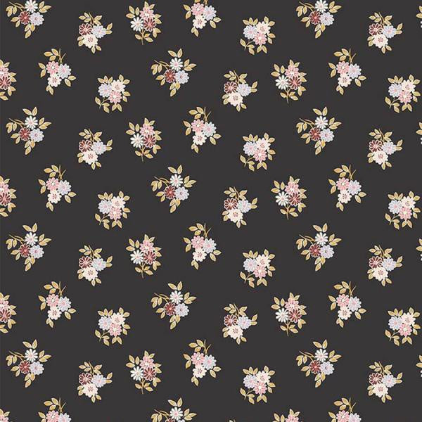 Liberty Cotton - Small Floral Bouquet on Charcoal