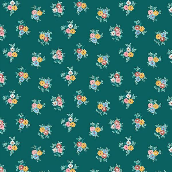 Liberty Cotton - Floral Bouquet on Green