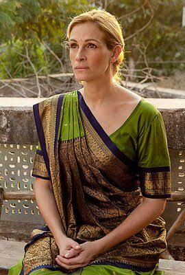 Roberts wearing a saree from a scene in Eat, Pray, Love.