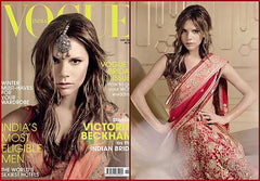 Victoria Beckham on the cover of Vogue in a red bridal saree