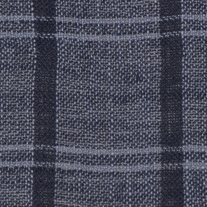 Blue Check Linen Open Weave 73 - Fabrics4Fashion