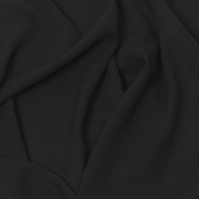 Mid-Weight Black Wool Crepe 140Woven