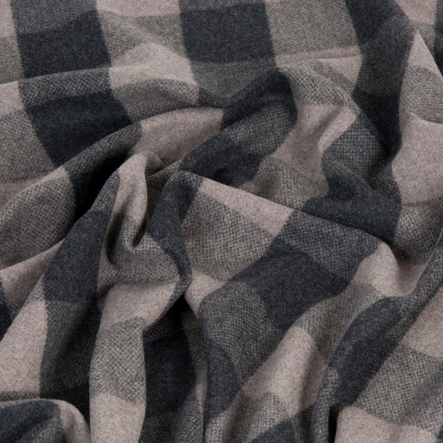 Charcoal Check Coating Fabric 1437 - Fabrics4Fashion