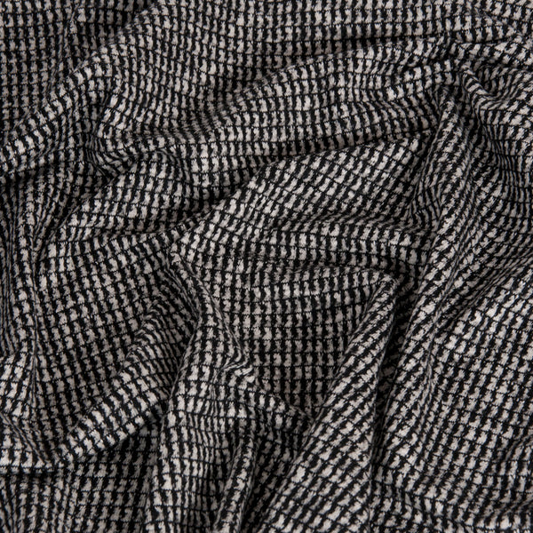 Black and White Geometric Cotton / Wool Fabric 1515 - Fabrics4Fashion