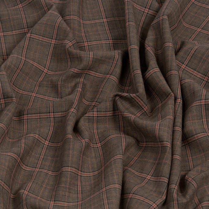 Brown Tartan Suiting Fabric 1065 - Fabrics4Fashion