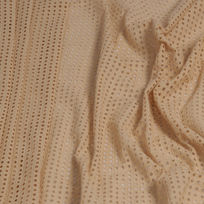 Beige Eyelet Embroidery Cotton 1105Woven