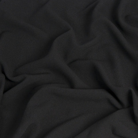 Black Polyester Viscose Stretch Fabric 1353 - Fabrics4Fashion