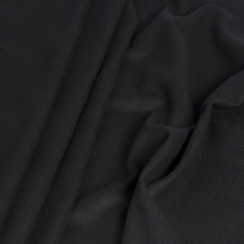 Black Melton Virgin Wool Blend 1359 - Fabrics4Fashion