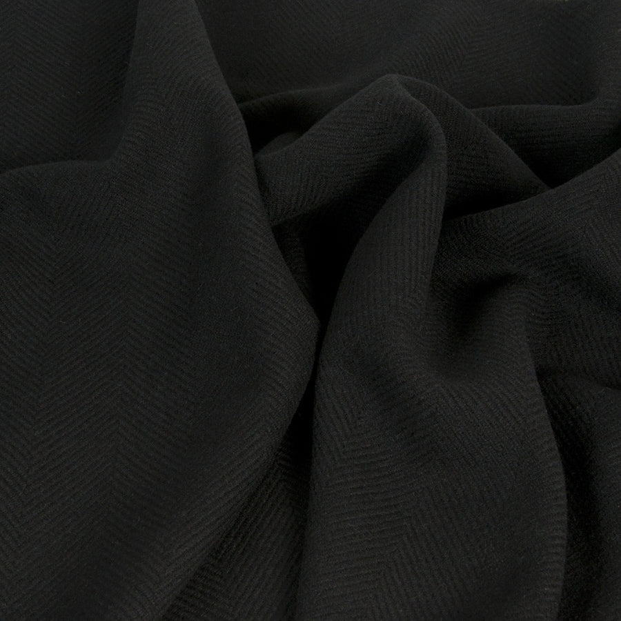 Black Herringbone Wool Fabric 1436 - Fabrics4Fashion