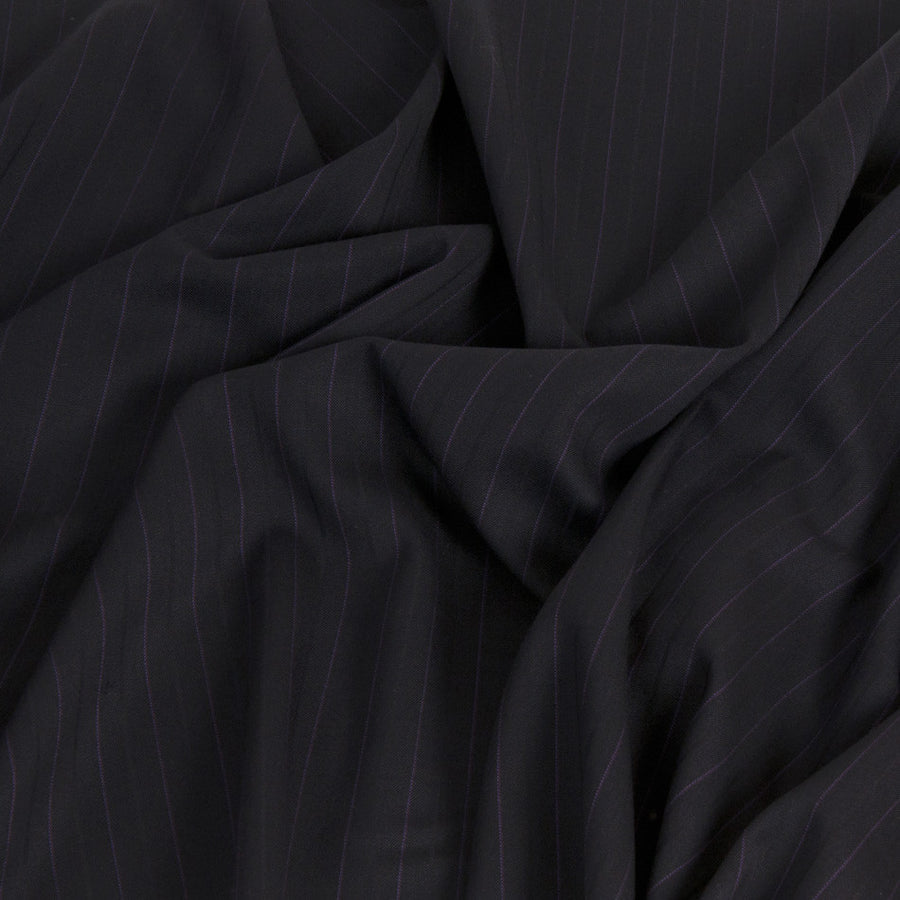 Navy Pinstripe Suiting Fabric 1476Woven