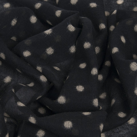 Black / Beige Printed Dots Wool 1563 - Fabrics4Fashion