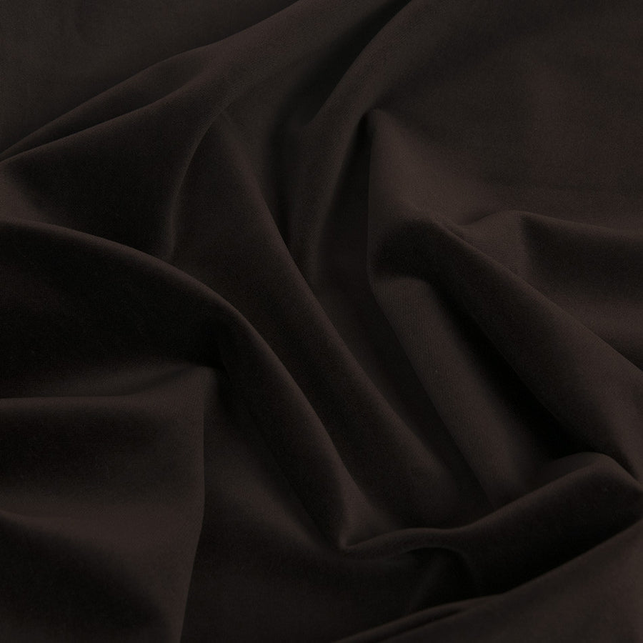 Chocolate Brown Cotton Velvet 1568 - Fabrics4Fashion
