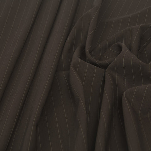 Brown Pinstripe Suiting Fabric 1569 - Fabrics4Fashion