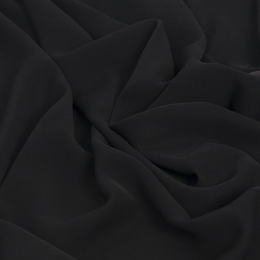 Black Mid Weight Fluid Poly Fabric 1835 - Fabrics4Fashion