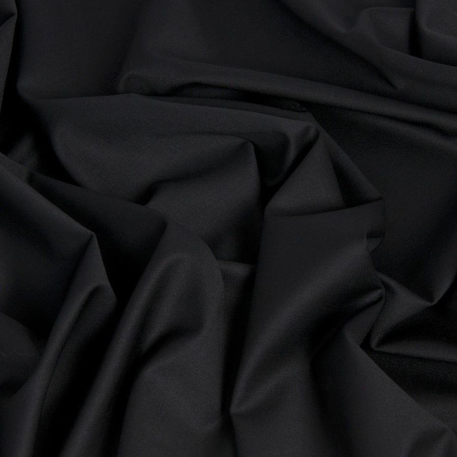 Black Stretchy Poly / Virgin Wool 186 - Fabrics4Fashion