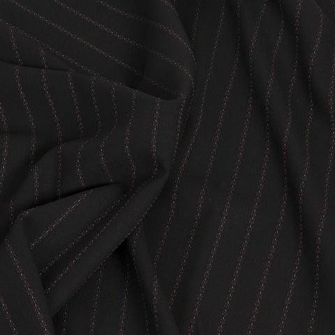 Black Pinstriped Suiting Fabric 19 - Fabrics4Fashion
