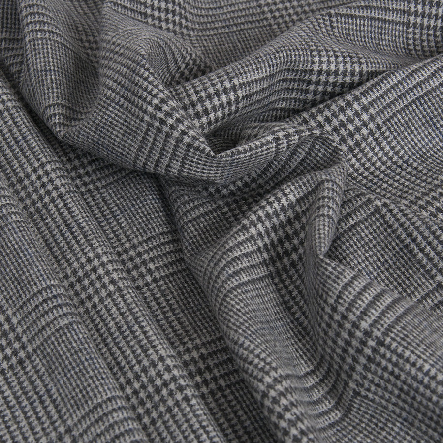 Charcoal Lightweight Prince of Wales Flannel 1954 - Fabrics4Fashion