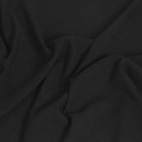 Black Stretchy Wool Crepe 225 - Fabrics4Fashion