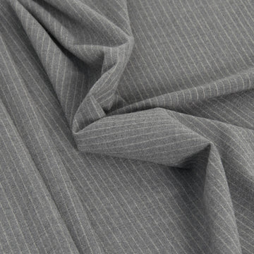 Ash Grey Pinstripe Stretchy Wool 2280 - Fabrics4Fashion