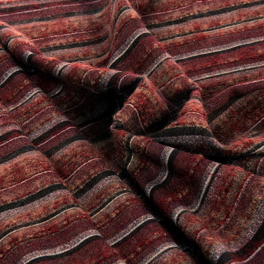 Plum Wool/Cashmere Striped Fabric 2281Woven