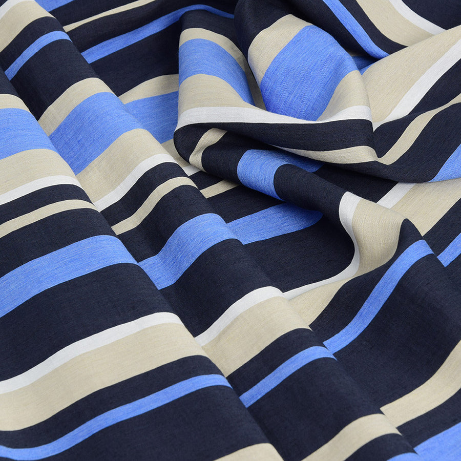 Striped Multicolor Melange Fabric 2431 - Fabrics4Fashion