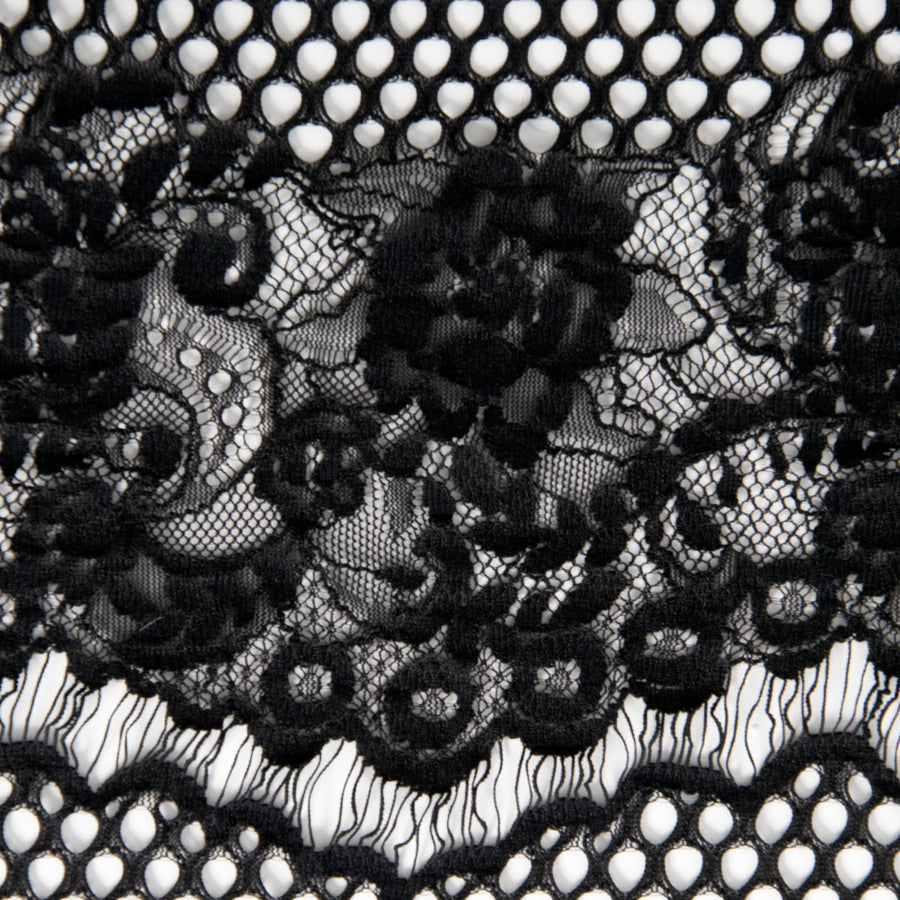 Black Floral Lace 2434 - Fabrics4Fashion
