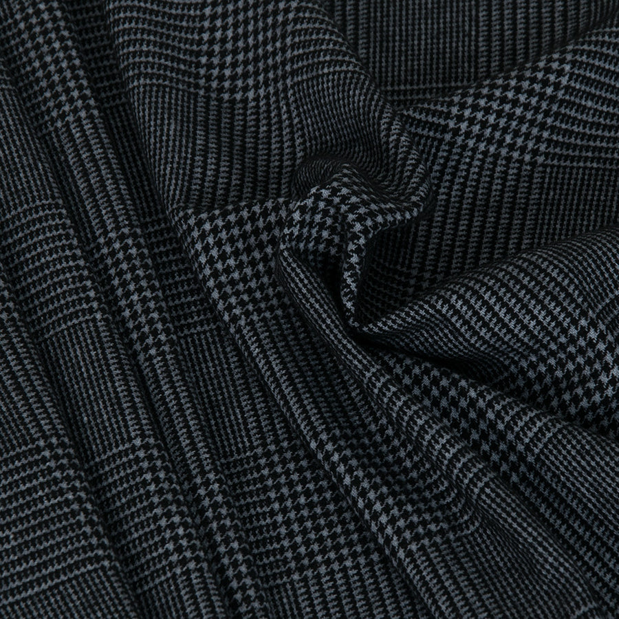 Grey and Black Prince of Wales Fabric 2485 - Fabrics4Fashion