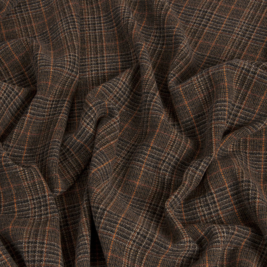 Brown Orange Tartan Wool 255 - Fabrics4Fashion