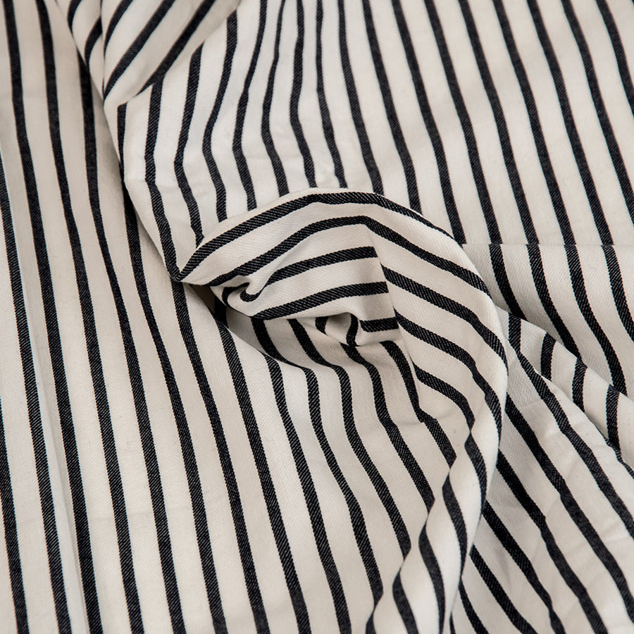 Navy & White Striped Stretch Fabric 437