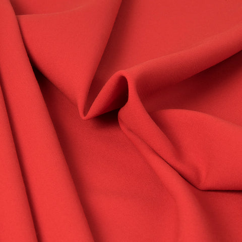 Vibrant Red Stretchy Wool Fabric 307Woven