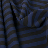 Stretch Black & Navy Stripe Fabric 398Woven