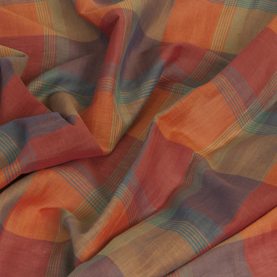 Orange Plaid Linen 50 - Fabrics4Fashion