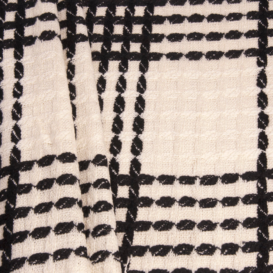 Ivory Black Check Coating Fabric 201 - Fabrics4Fashion