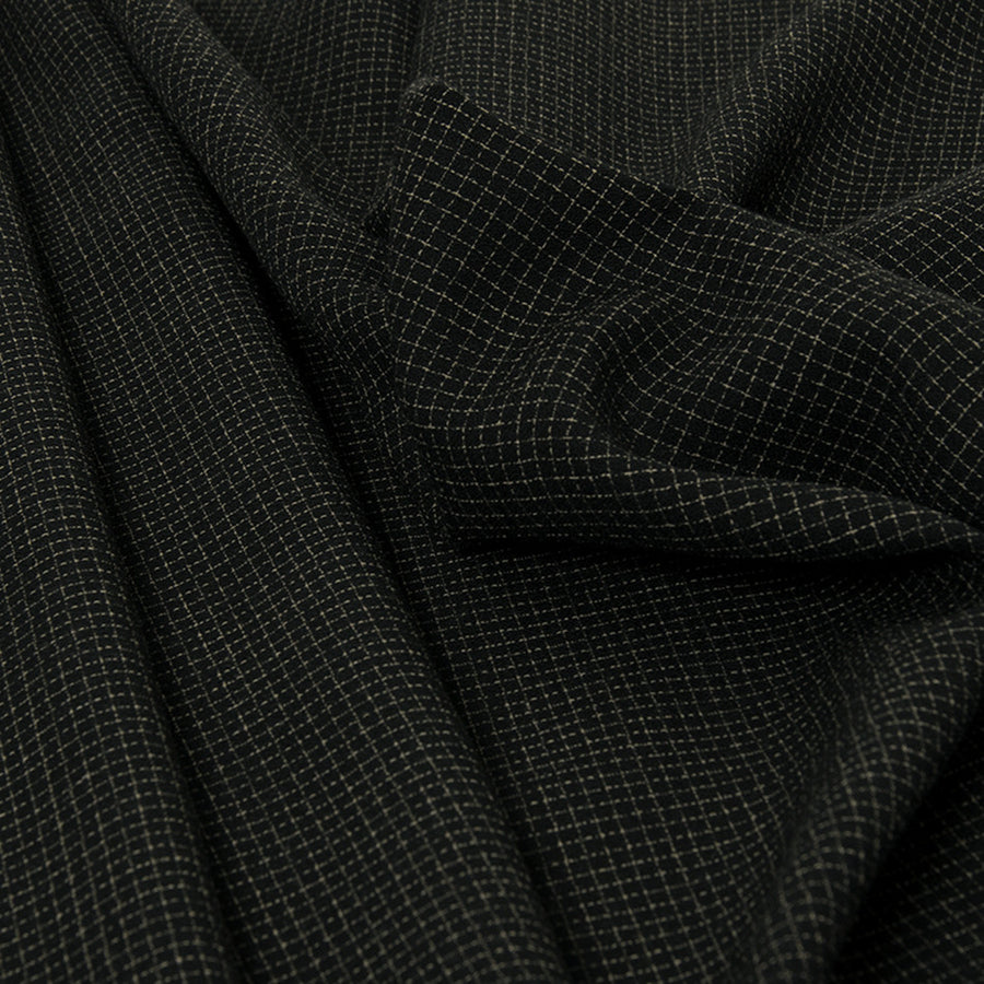 Squared Black Wool Crepe 76 - Fabrics4Fashion