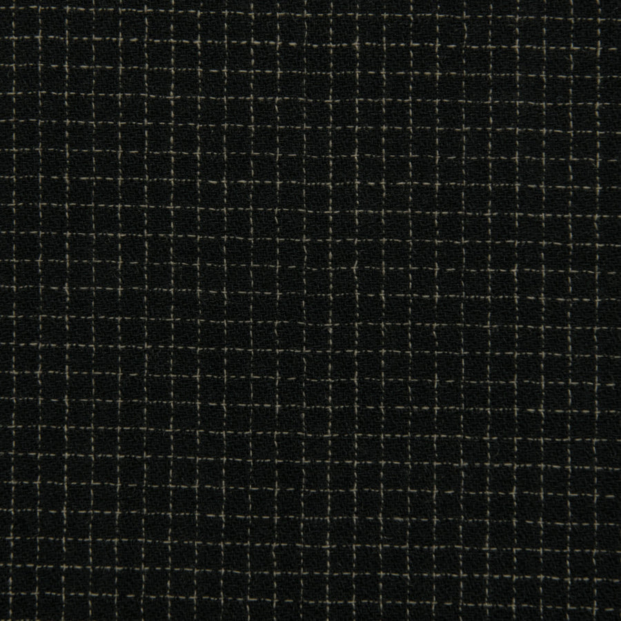 Squared Black Wool Crepe 76Woven