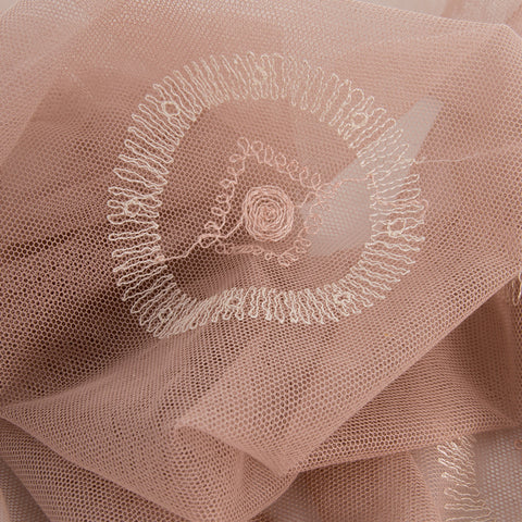 Pink Embroidery Tulle 920Woven