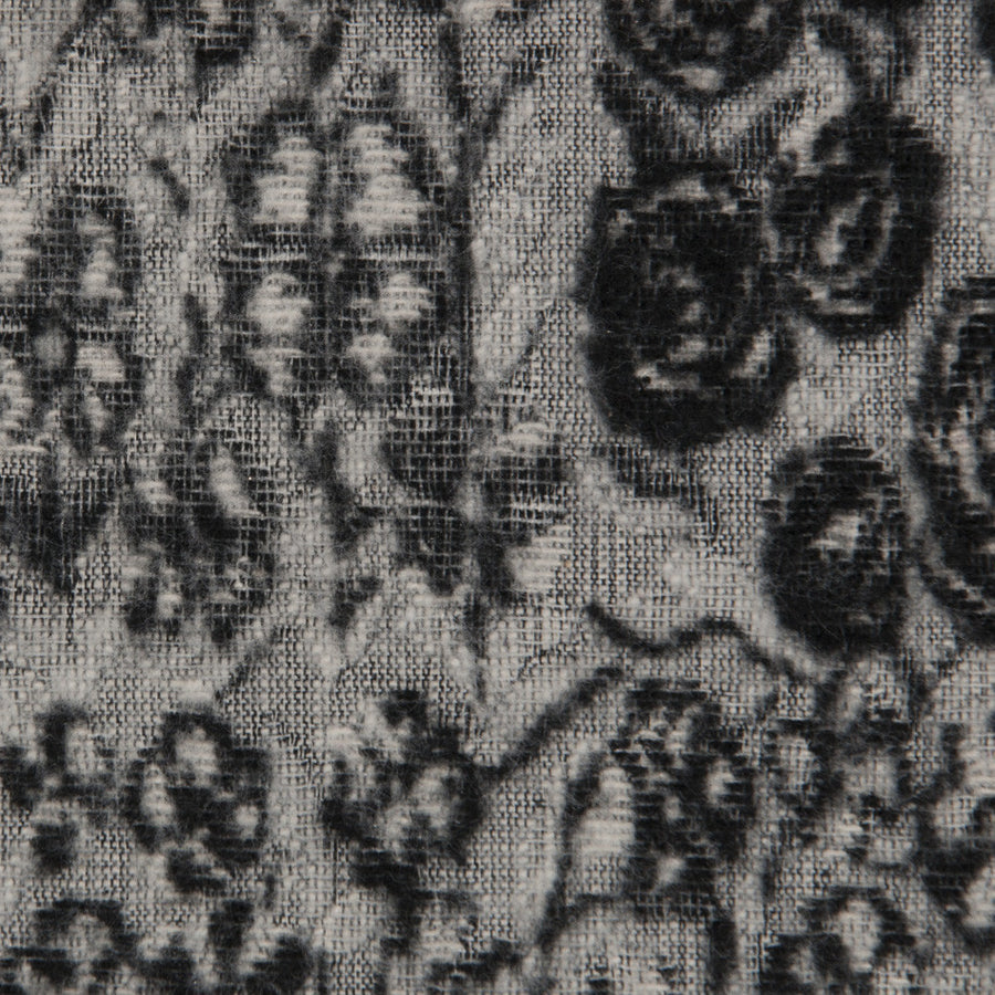 Black / White Faded Floral Jacquard 998 - Fabrics4Fashion