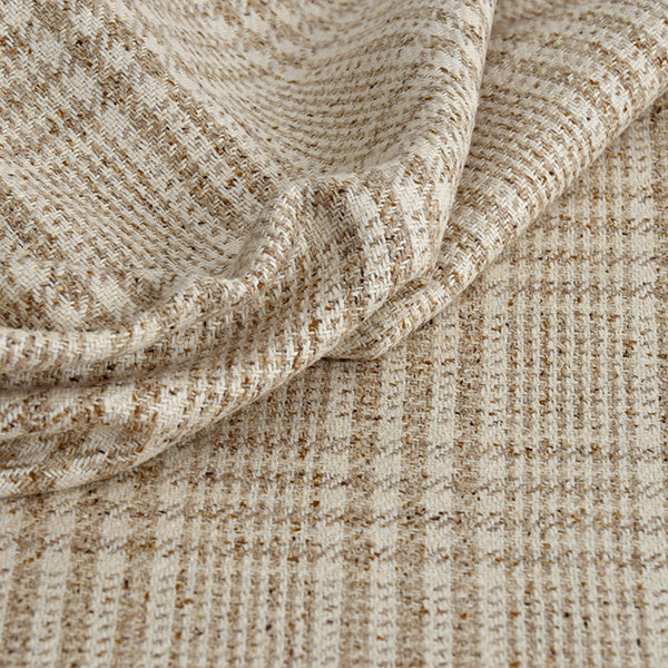 Beige and Cream Prince of Wales Silk Blend 642Woven