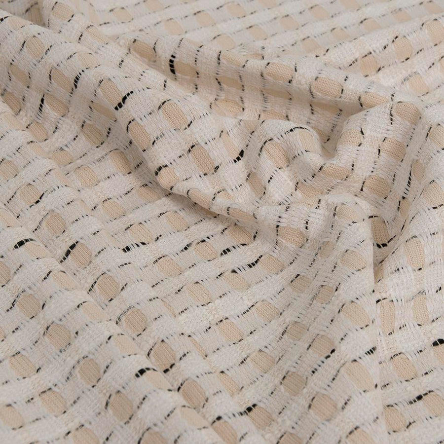 Beige & Cream Abstract Cotton Blend Jacquard 1597Woven