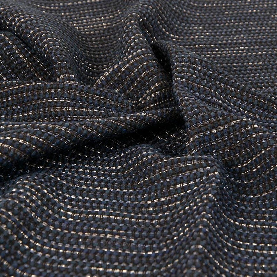 Blue and Silver Metal Boucl? Wool Blend 1792 - Fabrics4Fashion