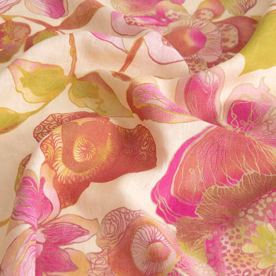 Ivory Pink Floral Print 558 - Fabrics4Fashion