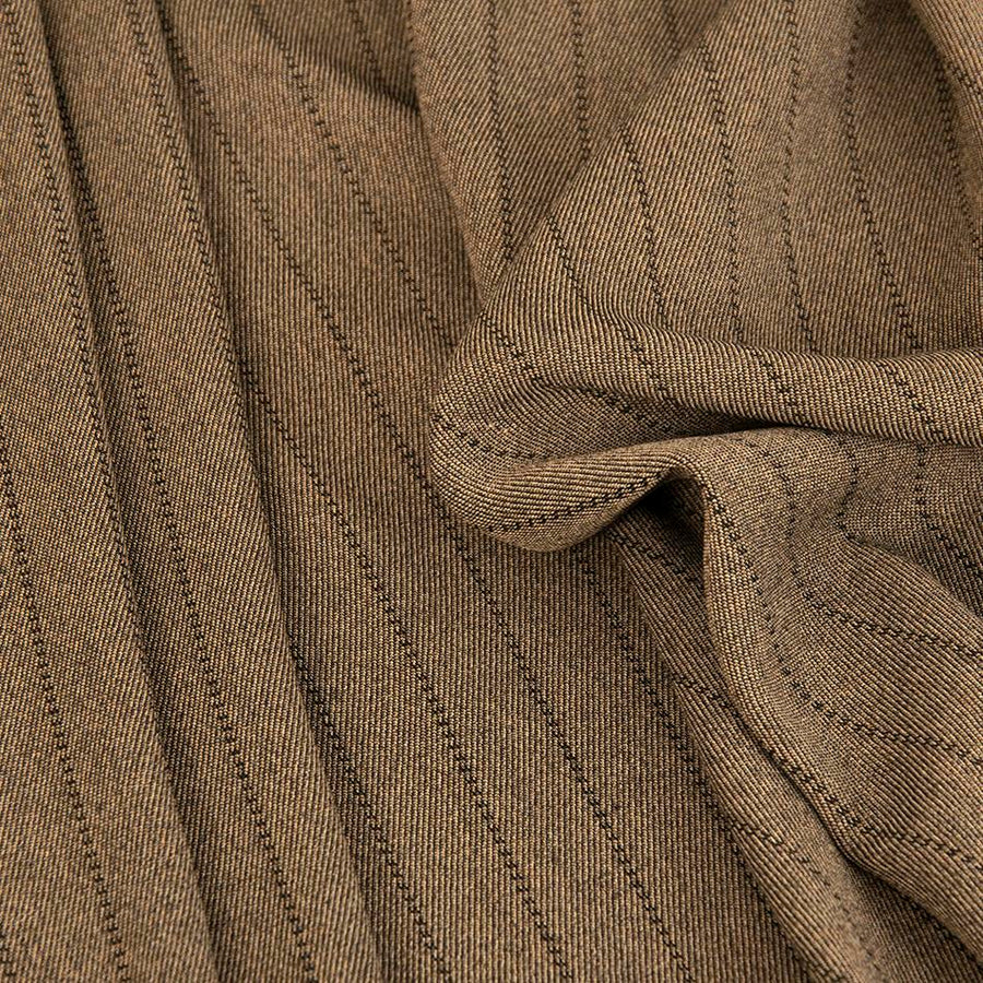 Khaki Beige Striped Wool Twill 105 - Fabrics4Fashion