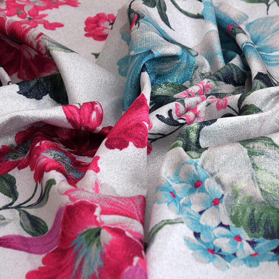Lurex Floral Print Fabric 5286