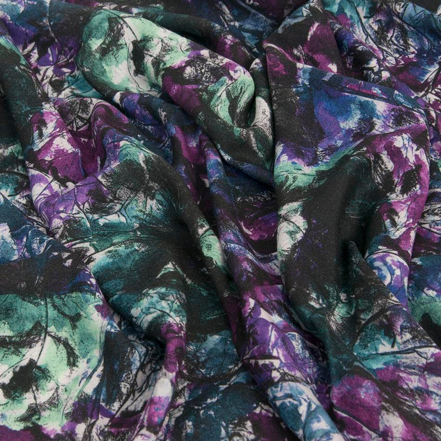Multicolored Viscose and Wool Floral Print Crepe 1679
