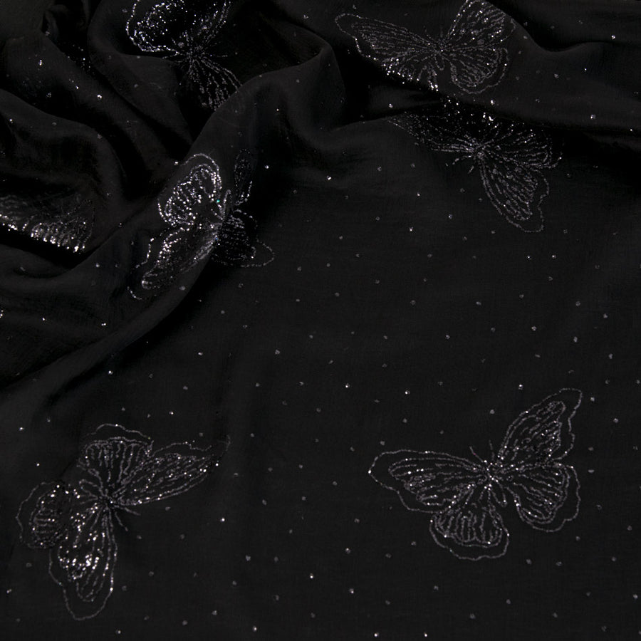 Glitter Butterfly Black Tulle 1567 - Fabrics4Fashion