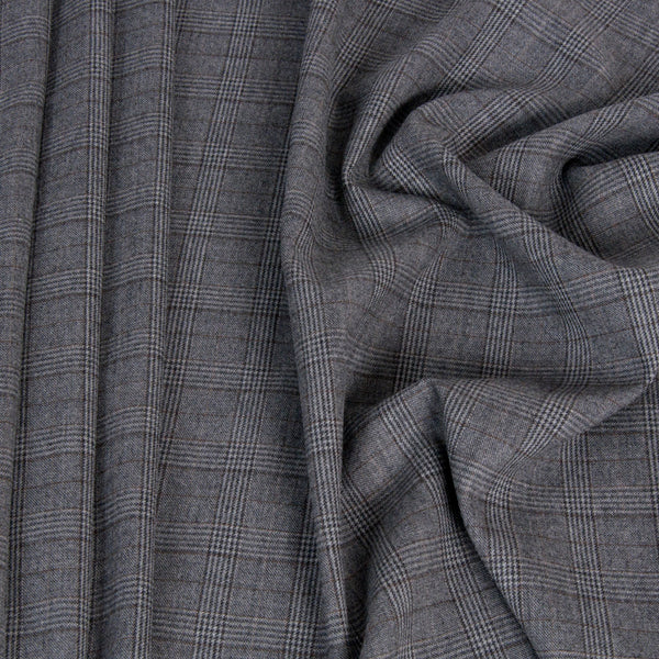 Grey Prince of Wales Stretch Wool 1446Woven